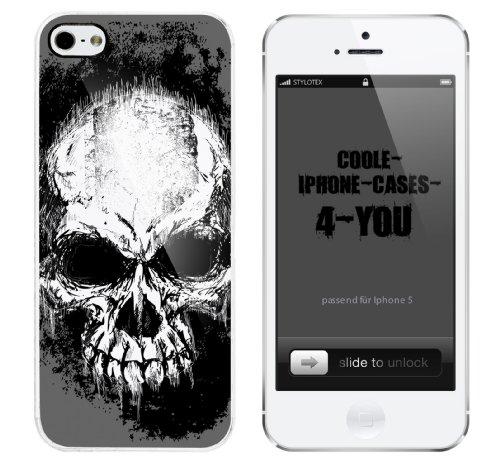 Iphone 5 Case Bad Skull v2 Rahmen weiss