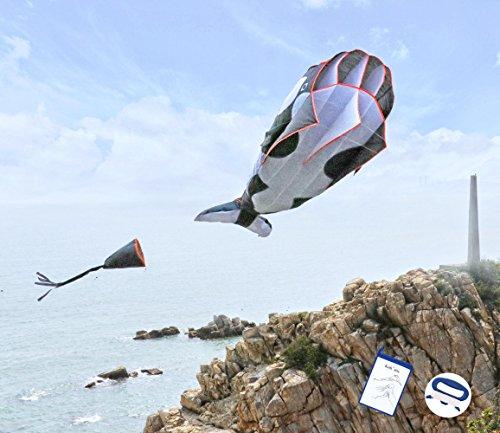 kizh Kite Huge 3D Dolphin Frameless Soft Parafoil Kites for Kids and Adults Easy Flyer Giant Kite for Beach Park Garden Playground(Black)