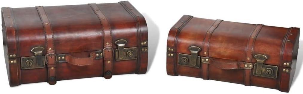 WooDlan Storage Chest Wooden Storage Trunk Vintage Treasure Chest 2 pcs Brown