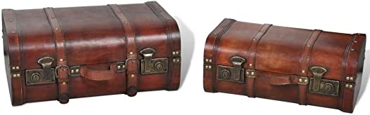 GOTOTOP Wooden Treasure Chest Old-Fashioned Antique Vintage Style Storage Box Trunk Cabinet for Bedroom Closet Home Organizer Collection Furniture Decor,Pack of 2,17.6×12.1×7.8inch,15.6×9.4×6.6inch