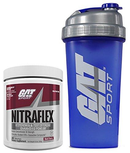 GAT Clinically Tested Nitraflex, Testosterone Enhancing Pre Workout 300 g (30 servings) with BONUS GAT Shaker Bottle (Black Cherry)