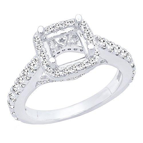 0.85 Carat (ctw) 14K White Gold Round Diamond Bridal Semi Mount Engagement Ring (Size 7.5)