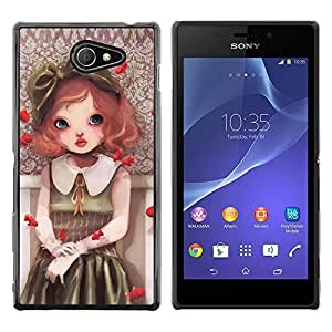 LECELL -- Funda protectora / Cubierta / Piel For Sony Xperia M2 -- Cute Girl Painting --