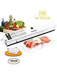 Welhunter Vacuum Sealer Food Vacuum Packing Machine with Vacuum Hose Automatic Vacuum Sealing System for Dry Food Preservation or Compact Things[Black/white]