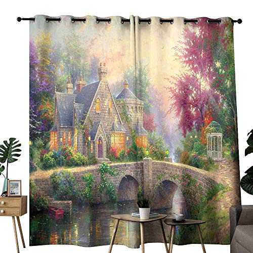 duommhome Simple Curtain Magic Garden 70%-80% Light Shading, 2 Panels,W72 x L96