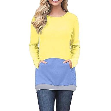ASHOP Ropa Mujer, Sudaderas Mujer Cortas con Cremallera Blusas Talla Grande Tops Deportivo (Amarillo