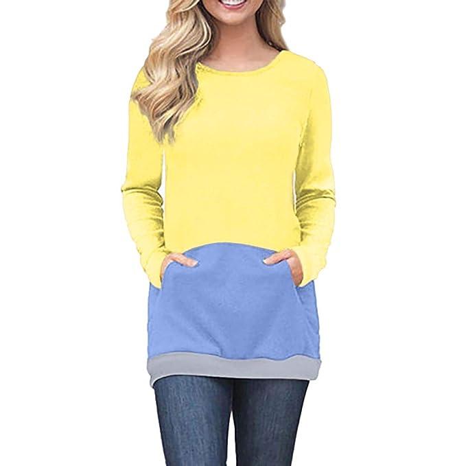 Bestow Invierno Mujer de Manga Larga Pullover Tops Casual Patchwork Blusa Costura suéter Casual Abrigo Sudadera Chaleco Suéter: Amazon.es: Ropa y accesorios