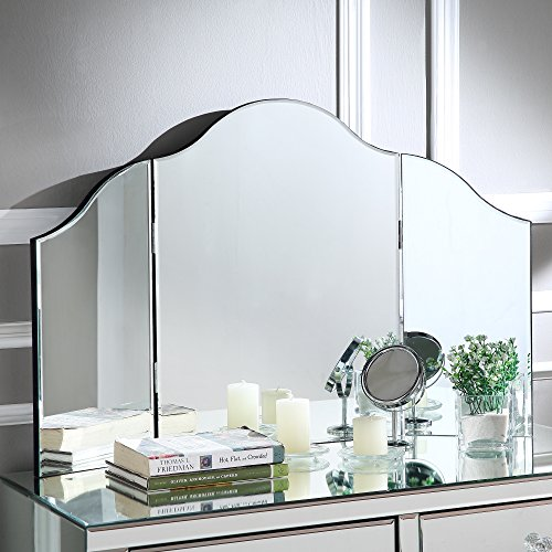 Inspired Home Giselle Frameless Modern Contemporary Tri-fold Tabletop Vanity Mirror Giselle Panel