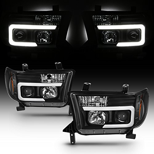 - For Toyota Tundra Sequoia LED DRL Light Tube Black Projector Replacement Headlights Left/Right Lamps