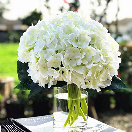 Enova Home Artificial Silk Hydrangea Flower Arrangement in Clear Glass Vase with Faux Water for Home Wedding Decoration (Cream) (Vase Flowers Artificial Glass With)