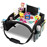 EVERYTHINGINPLACE Kids Travel Tray, Toddler Car Seat Lap Tray, 16.1 x 1.7 Inches (Black)