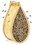 KIBAGA Mason Bee House - Handmade Natural Bamboo Bee Hive - Attracts...
