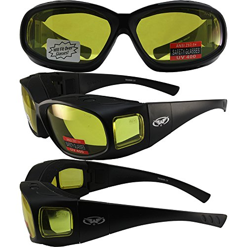 Sun Prescription Sunglasses (Global Vision Caps Padded Safety Sunglasses Fits Over-Prescription Matte Black Frame with Yellow Lens Matching Side Lens)