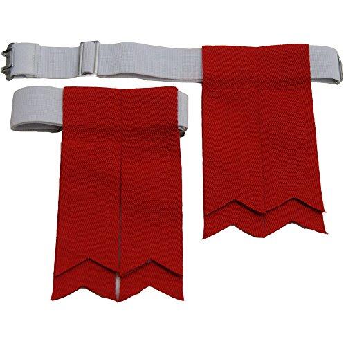 USA Kilts Premium Red Kilt Flashes with Adjustable Elastic Garter (Stock Kilt)
