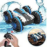 Car Toys for 6-12 Year Old Boys Amphibious Remote Control Car for Kids 2.4 GHz RC Stunt Car for Boys Girls 4WD Off Road Monster Truck Teen Gifts Remote Control Boat Beach Toy Blue