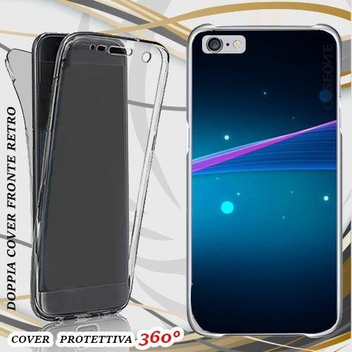 CUSTODIA COVER CASE ABSTRACT CERCHI BLU PER IPHONE 6 FRONT BACK