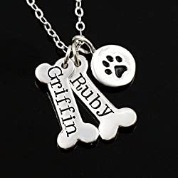 Custom Dog Memorial Necklace • Sterling Silver Personalized Bone & Paw Print Charm • 1 2 3 4 5 6 7 Engraved Names • Remembrance Jewelry • Unique Pet Loss Gift • Also in Gold