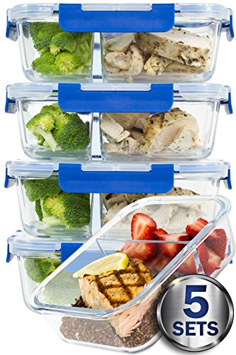 [LARGER PREMIUM 5 SET] 2 Compartment Glass Meal Prep Containers with Lifetime Lasting Snap Locking Lids Glass Food Containers BPA-Free, Microwave, Oven, Freezer and Dishwasher Safe (4.5 Cups, 36 Oz.)
