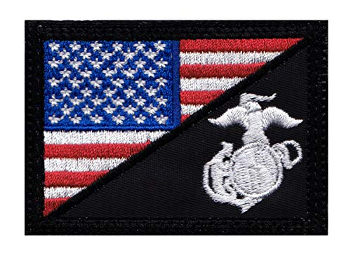 - Marine Eagle Globe Anchor US Flag Half Tactical Morale Hook Side Patch