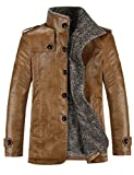 Gprince Mens PU Jacket Stand Collar Coat for Autumn and Winter