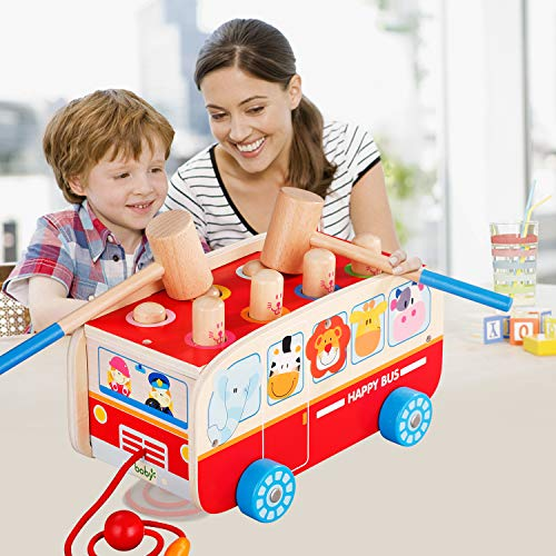 Tohibee Toddler Toys, Wooden Toys for 1 2 3 Year Old Boy Girl, Developmental Pounding Toy with 2 Mallets 8 Pegs and Rope, Wood Hammer Push Toys for Toddlers, Ideal Toddler Kids Gifts ()
