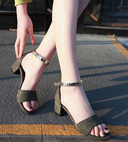 Donde la palabra sandalias de las mujeres de las sandalias de verano con tacón grueso Green