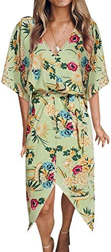 YOINS Women Floral Print V Neck Dress Half Sleeves Crossed Front Maxi Dresses for Vacation Beach