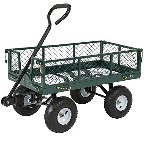 Heavy Duty Utility Wheelbarrow Lawn Wagon Cart Dump Trailer Yard Garden Steel by BUY JOY
