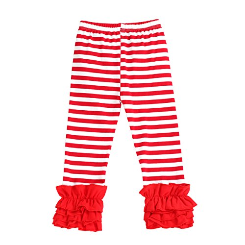 Little Girl's Double Icing Ruffle Leggings Toddler Girl Triple Cotton Boutique Elastic Waist Slacks Joggers Activewear Red Striped 7t