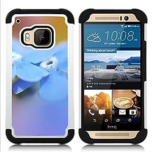 For HTC ONE M9 - flower blue spring nature Dual Layer caso de Shell HUELGA Impacto pata de cabra con im??genes gr??ficas Steam - Funny Shop -