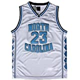 NO.23 retro Jordan North Carolina University throwback basketball jerseys embroidery double-slit white S