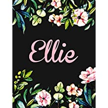 Ellie: Personalised Name Notebook/Journal Gift For Women & Girls 100 Pages (Black Floral Design)