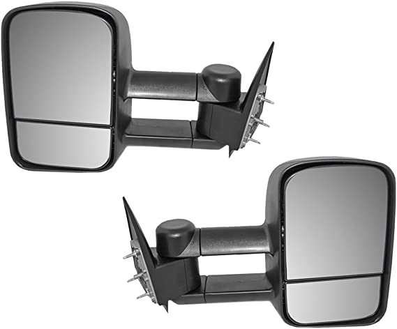 Aftermarket Replacement Driver and Passenger Pair Manual Telescopic Tow Mirrors Performance Upgrade Compatible with 99-07 Silverado Sierra Pickup Truck