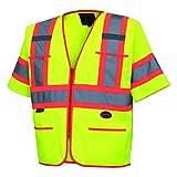"Pioneer V1023560U-M V1023560U Hi-Viz Polyester Sleeved Vests, 0.25"" Height, 13.36"" Width, 22.79"" Length, Medium, Yellow/Green"