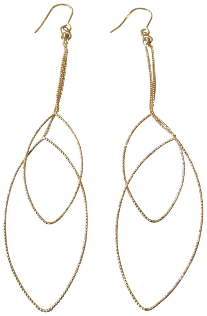 Kenneth Jay Lane Polished Gold Tone Chain and Double Teardrop Fishhook Pierced Earrings by Kenneth Jay Lane