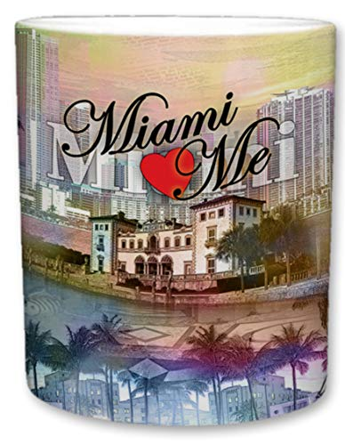 Sweet Gisele | City of Miami Inspired Mug | Ceramic Coffee Cup | Downtown Skyline | Miami Loves Me Phrase | Shoreline Theme | Palm Tree Accents | Great Novelty Gift | 11 Fl. Oz (Multicolored) ()