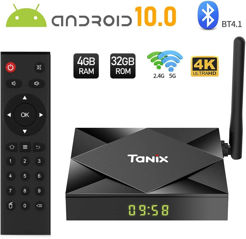 TV Box Android 10.0, Sidiwen TX6S Smart TV Box 4GB RAM 32GB ROM, Allwinner H616 Quad-Core Mali-G31 MP2 GPU, 2.4G / 5G Dual WiFi Bluetooth Ethernet USB 3.0 3D / 4K Full