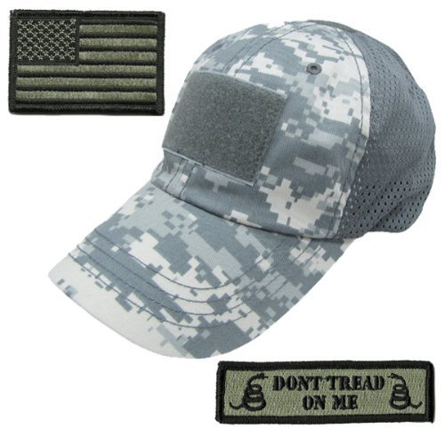 - Gadsden and Culpeper Operator Cap Bundle - w USA/Dont Tread Patches (Digital Camo Cap - Mesh)