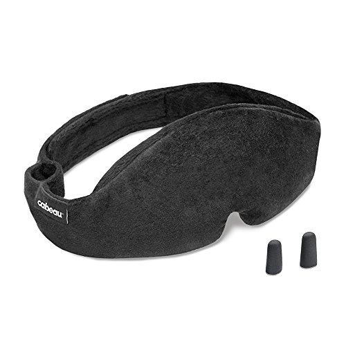 Cabeau Midnight Magic Sleep Mask - Adjust Padded Nose Strip to Block or Blackout Light - For Home and Travel - Soft Plush Fabric - Eye Liners Keep Fabric Away from Eyelids - Memory Foam Earplugs