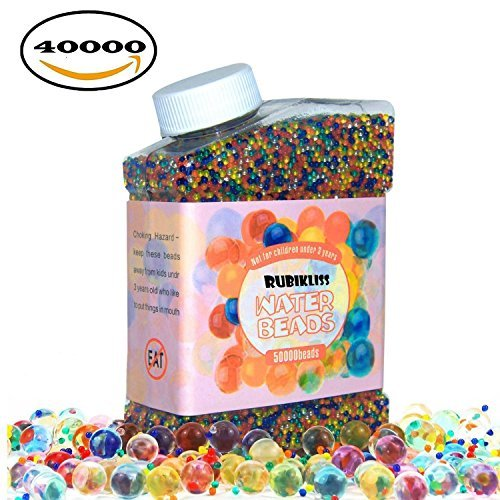 Rubikliss Water Beads Pack (40000 beads) Rainbow Mix Jelly Water Gel Beads Growing Balls for Orbeez Spa Refill, Kids Sensory Toys, Vases, Plant, Wedding and Home Decor