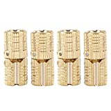 Barrel Hinge Copper Brass Cabinet Gift Box Hidden Brass Concealed Hinges 8mm 180° Opening Angle 4Pcs/Pack