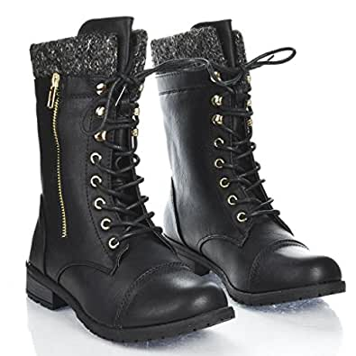 Forever Link Womens Mango-31 Round Toe Military Lace Up Knit Ankle Cuff Low Heel Combat Boots, 5.5 B(M) US, Black