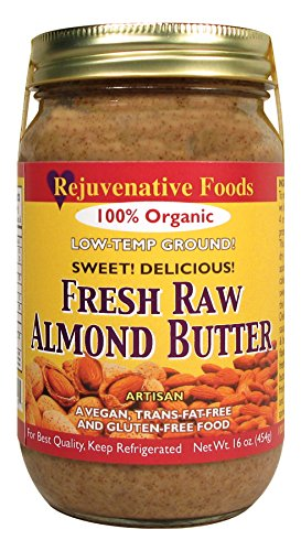 THREE 16 oz Fresh Raw Organic Almond Butter Smooth-Creamy Pure Rejuvenative Foods Low-Temp-Ground Vegan In-Glass Artisan Vitamin-Protein-Antioxidant-Mineral USDA-Certified Organic (3-16 oz.)