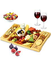 Bamboo Cheese Board, Charcuterie Platter and Serving Tray for Wine, Crackers, Brie and Meat, Large and Thick Natural Wooden Server - Fancy House Warming Gift & Perfect Choice for Gourmets
