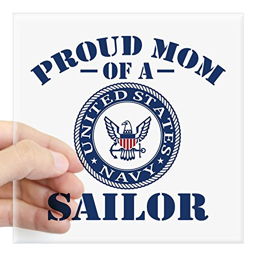 CafePress Proud Mom of A US Navy Sail Square Sticker 3 X 3 Square Bumper Sticker Car Decal, 3