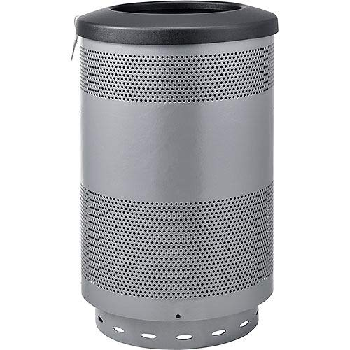 (Global Industrial 55 Gallon Perforated Steel Receptacle with Flat Lid, Gray, Lot of)