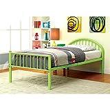 Furniture of America Tori Metal Youth Bed, Apple Green, Twin