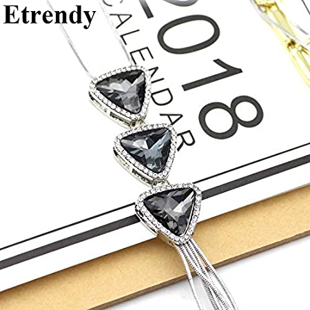 Davitu Big Crystal Tassel Long Necklace for Women Davitu Collares Exquisite Fashion Jewelry Sweater Chain Metal Color: Triangle Shaped