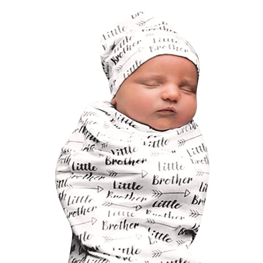 Lucoo Newborn Baby Kids Cocoon Swaddle Blanket Sleeping Swaddle Muslin Wrap Hat Set (Black)