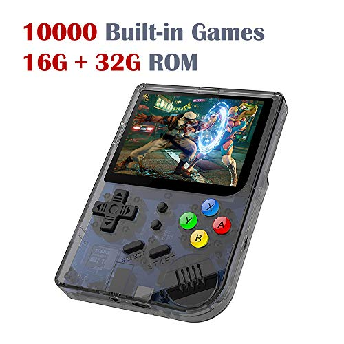 DREAMHAX RG300 Portable Game Console with Open Linux System Preload 10000 Games, Handheld Video Games with 16G + 32G TF Card 3 Inch IPS Screen, Arcade Retro Gameboy Gifts for Kids Adults (Black)